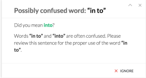 Grammarly provides explanations of errors and suggestions, including examples.